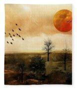 Orange Moon Fleece Blanket