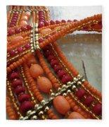 Orange Necklace Fleece Blanket