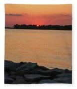 Orange Nite Sky  Fleece Blanket