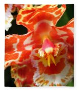 Orange Orchid Fleece Blanket