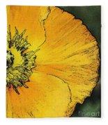 Orange Oriental Poppy Fleece Blanket