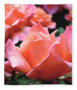 Orange-pink Roses  Fleece Blanket