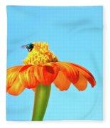 Orange Pop Flower Cafe Fleece Blanket