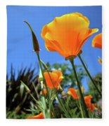 Orange Poppy Blue Sky Fleece Blanket