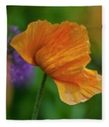 Orange Poppy Flower Fleece Blanket