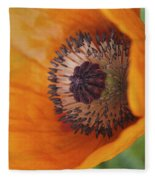Orange Poppy With Texture Fleece Blanket
