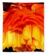 Orange Ranunculus Polar Coordinate Fleece Blanket