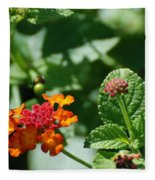 Orange  Red Flowers Fleece Blanket