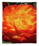 Orange Red Rose Flower Art Prints Giclee Baslee Troutman Fleece Blanket