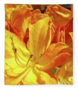Orange Rhodies Flowers Art Rhododendron Baslee Troutman Fleece Blanket