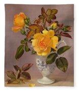 Orange Roses In A Blue And White Jug Fleece Blanket