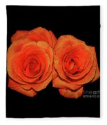 Orange Roses With Hot Wax Effects Fleece Blanket