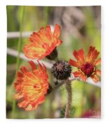 Orange Small Flowers With Buds Fleece Blanket