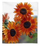 Orange Sunflower 1 Fleece Blanket