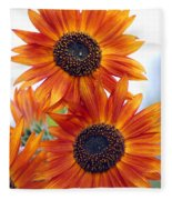 Orange Sunflower 2 Fleece Blanket