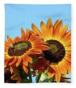 Orange Sunflowers Summer Blue Sky Art Prints Baslee Fleece Blanket