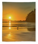 Orange Sunrise Seascape And Beach Fleece Blanket