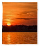 Orange Sunset Sky Island Heights Nj Fleece Blanket