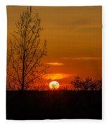 Orange Sunset Through The Trees Fleece Blanket