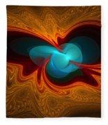 Orange Swirl With Blue Fleece Blanket