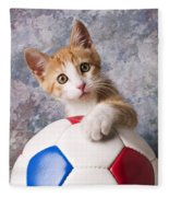 Orange Tabby Kitten With Soccer Ball Fleece Blanket