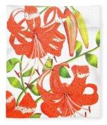 Orange Tiger Lilies Fleece Blanket