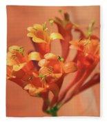 Orange Trumpet Honeysuckle Fleece Blanket