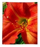 Orange Trumpeting Lily Fleece Blanket