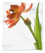 Orange Tulip Fleece Blanket