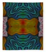 Orange Turquoise Floral Gem Fleece Blanket