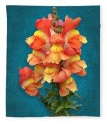 Orange Yellow Snapdragon Flowers Fleece Blanket