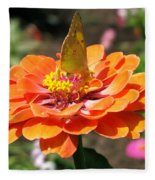 Orange Zennia Fleece Blanket