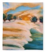 Oranges In The Snow-landscape Painting By V.kelly Fleece Blanket