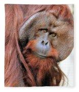 Orangutan Male Closeup Fleece Blanket