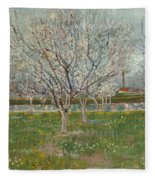 Orchard In Blossom Plum Trees Fleece Blanket