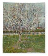 Orchard In Blossom, Plum Trees Fleece Blanket