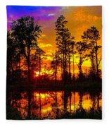 Orchard Lake Sunset Fleece Blanket