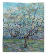 Orchard With Blossoming Plum Trees   Fleece Blanket