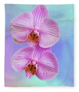 Orchid Delight - Two Blooms Against A Rainbow Background Fleece Blanket