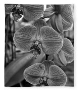 Orchid Glory Black And White Fleece Blanket
