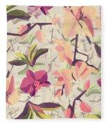 Orchid Pattern Fleece Blanket
