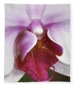 Orchid Portrait In Craquelure Fleece Blanket