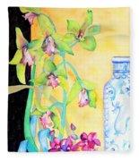 Orchids And Blue Vase Fleece Blanket