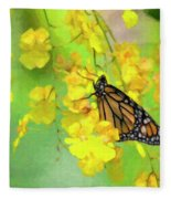 Orchids And Butterfly Painting Fleece Blanket