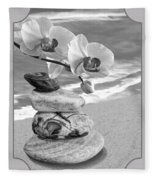 Orchids And Pebbles On The Sand In Black And White Fleece Blanket