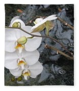 Orchids And Water Fleece Blanket