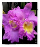 Orchids In Fuchsia  Fleece Blanket