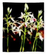 Orchids On Black Fleece Blanket