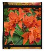Orchids Vertical Triptych Fleece Blanket