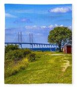 Oresund Bridge With Cabanas Fleece Blanket